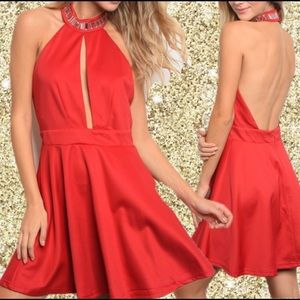 Dresses & Skirts - Gorgeous, Red Mini Dress with Rhinestones